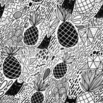 Ananas und Katzen Vektor Ornament