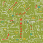 Labirinto desenhado à mão Design de padrão vetorial sem costura
