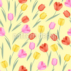 Hermosos tulipanes Estampado Vectorial Sin Costura