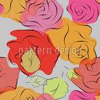 手描きのバラ シームレスなベクトルパターン設計