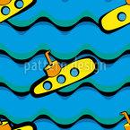 Doce pequeno submarino Design de padrão vetorial sem costura