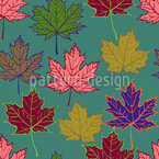 Autumnal Mapel Trio Seamless Vector Pattern