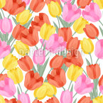 Radiant Tulips Seamless Vector Pattern Design