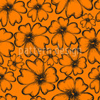 Sunny Flower Silhouettes Seamless Vector Pattern Design