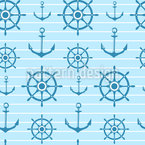 Ahoi Seemannschaft Nahtloses Vektor Muster