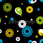 Flowerpower Black Seamless Vector Pattern Design