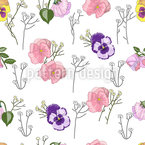 Violas decorativas Estampado Vectorial Sin Costura