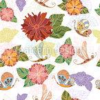 Field Flowers And Butterflies Seamless Vector Pattern