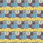 Lustige Hipster Katzen Nahtloses Vektor Muster