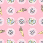 Doodle Ice Cream Vector Pattern