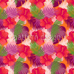 Tropical Hibiscus Seamless Vector Pattern Design