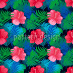 Exotic Hibiscus Seamless Vector Pattern Design