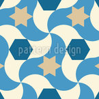 Wavy Star Seamless Vector Pattern Design