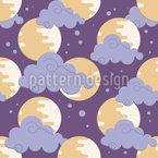Mond In den Wolken Nahtloses Vektormuster