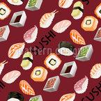 おいしい寿司 シームレスなベクトルパターン設計
