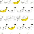 Bananen-Doodle Nahtloses Vektormuster