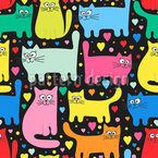 Funny Kittens And Hearts Seamless Vector Pattern Design