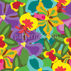 Colorful Orchid Seamless Vector Pattern Design