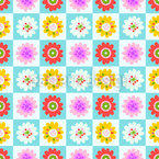 Floral Squares Seamless Vector Pattern Design
