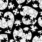 Puzzle Mit Herz Nahtloses Vektor Muster
