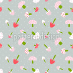 Dotted Mushrooom Cuties Pattern Design