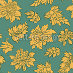 Baroque Bloom Green Seamless Vector Pattern Design
