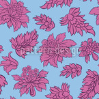 Baroque Bloom Blue Seamless Vector Pattern Design