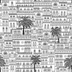 Arabesque Houses Seamless Vector Pattern Design