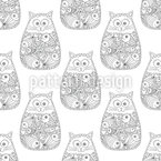 Gatos Zentangle Design de padrão vetorial sem costura