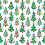 Doodle Christmas Trees Vector Pattern