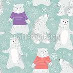 Eisbären Und Tanzende Schneeflocken Nahtloses Vektormuster