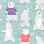 Polar Bears And Dancing Snowflakes Vector Design