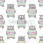 Sweet Kitty Seamless Vector Pattern Design
