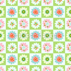 Chessboard with Flowers Vector Ornament