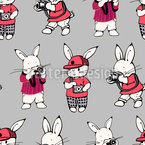 Creative Bunnies Seamless Vector Pattern