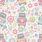 Sweet Kittens In Summer Seamless Vector Pattern Design