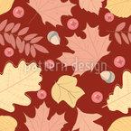 Eicheln Beeren und Blätter Nahtloses Vektormuster