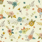 Vintage Autumn Flowers Seamless Vector Pattern Design