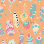 Vibrant Tribal Feathers Seamless Vector Pattern Design