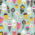 Fancy Tribal Feathers Seamless Vector Pattern Design