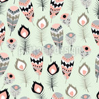 Decorative Tribal Feathers Seamless Vector Pattern Design