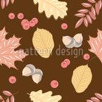 Eicheln Blätter und Beeren Nahtloses Vektormuster
