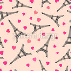 Eiffel Tower With Hearts Seamless Vector Pattern Design