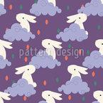 Kaninchen in den Wolken Nahtloses Vektormuster