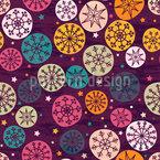 Abstrakte Schneeflocken und Sterne Musterdesign
