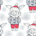 Winter Bunnies Seamless Vector Pattern Design
