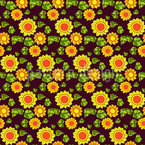 Seventies Sunflowers Seamless Vector Pattern Design