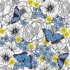 Blumen Skizzen Mit Schmetterlingen Nahtloses Vektormuster