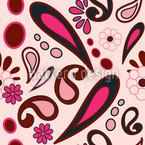 ビーボブペイズリーピンク シームレスなベクトルパターン設計