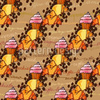 Coffee And Cupcake Seamless Vector Pattern Design